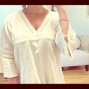 Tops - Boho cream coloured  linen blouse